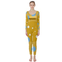 Blue And Yellow Moon Long Sleeve Catsuit by Valentinaart