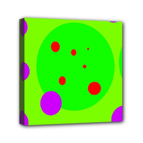 Green And Purple Dots Mini Canvas 6  X 6  by Valentinaart