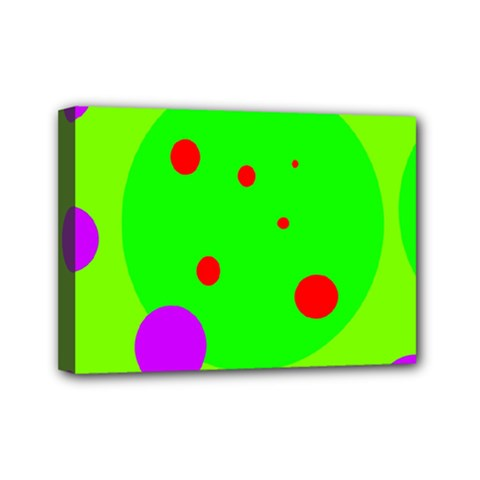 Green And Purple Dots Mini Canvas 7  X 5  by Valentinaart