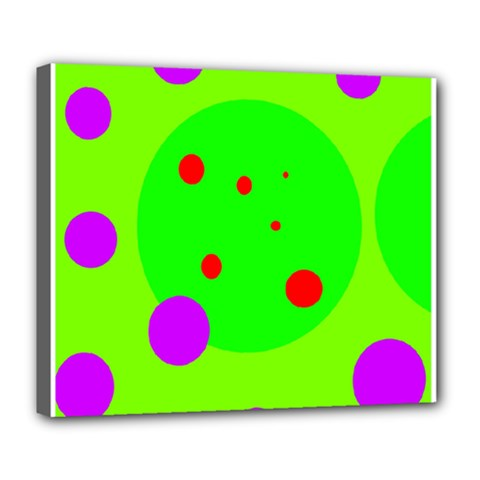 Green And Purple Dots Deluxe Canvas 24  X 20   by Valentinaart