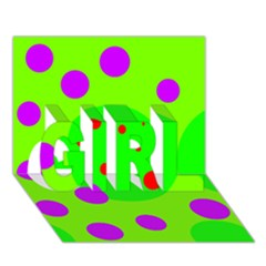 Green And Purple Dots Girl 3d Greeting Card (7x5)  by Valentinaart