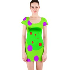 Green And Purple Dots Short Sleeve Bodycon Dress by Valentinaart