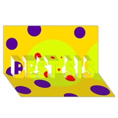 Yellow And Purple Dots Best Sis 3d Greeting Card (8x4)  by Valentinaart