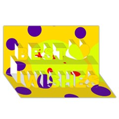 Yellow And Purple Dots Best Wish 3d Greeting Card (8x4)  by Valentinaart