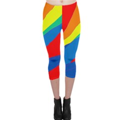 Colorful Abstract Design Capri Leggings  by Valentinaart
