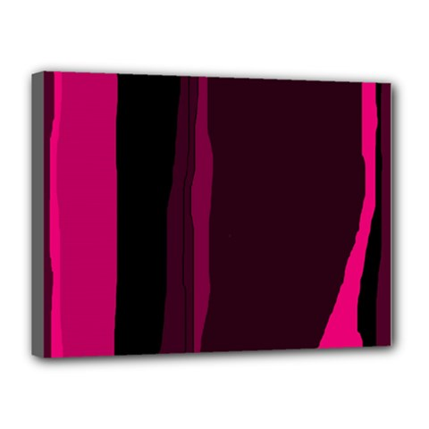 Pink And Black Lines Canvas 16  X 12  by Valentinaart