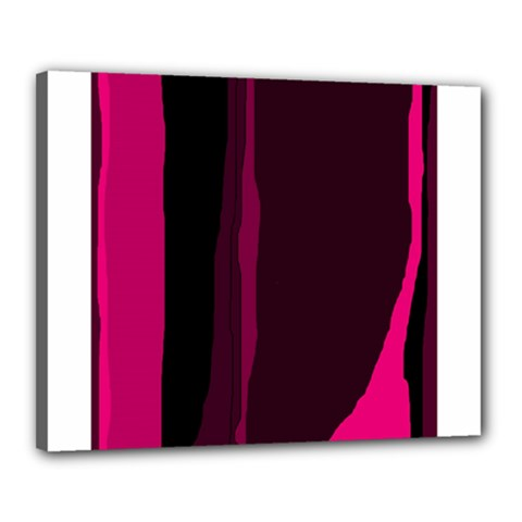 Pink And Black Lines Canvas 20  X 16  by Valentinaart