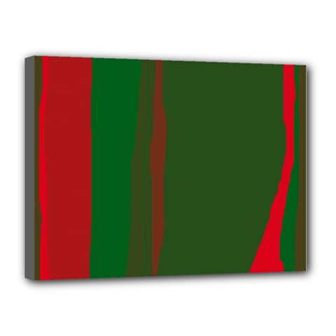 Green And Red Lines Canvas 16  X 12  by Valentinaart