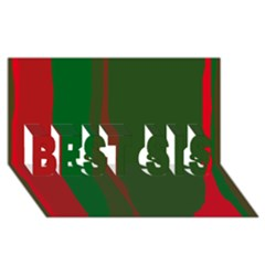 Green And Red Lines Best Sis 3d Greeting Card (8x4)