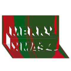 Green And Red Lines Merry Xmas 3d Greeting Card (8x4)  by Valentinaart
