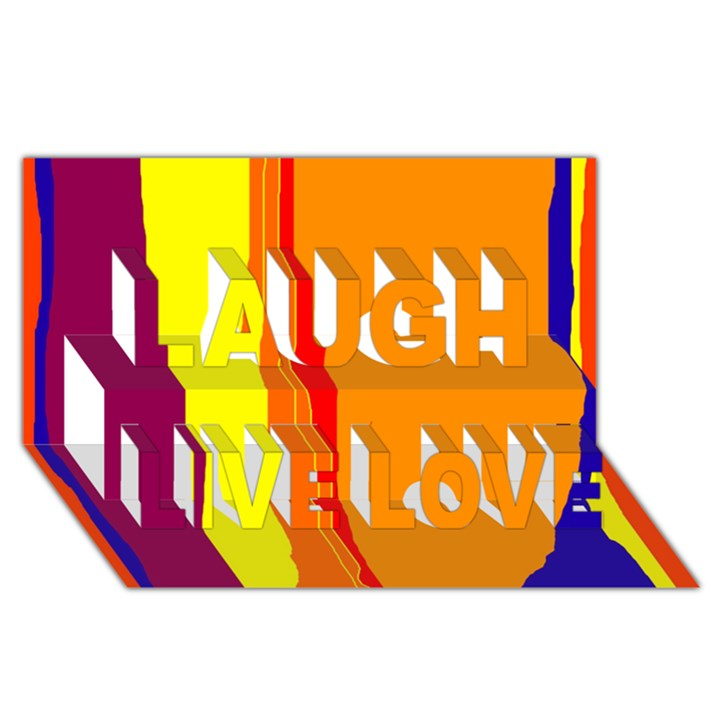 Hot colorful lines Laugh Live Love 3D Greeting Card (8x4)