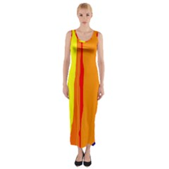 Hot Colorful Lines Fitted Maxi Dress by Valentinaart