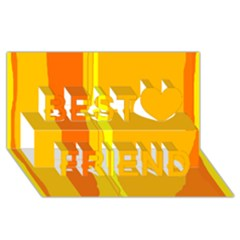 Yellow and orange lines Best Friends 3D Greeting Card (8x4)