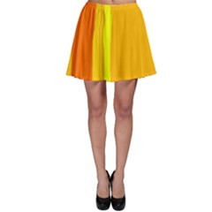 Yellow And Orange Lines Skater Skirt by Valentinaart