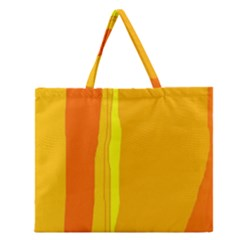 Yellow And Orange Lines Zipper Large Tote Bag by Valentinaart