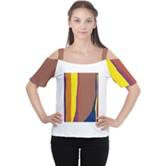 Colorful Lines Women s Cutout Shoulder Tee by Valentinaart