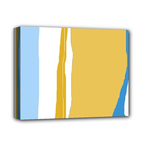 Blue And Yellow Lines Deluxe Canvas 14  X 11  by Valentinaart