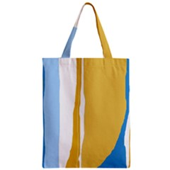 Blue And Yellow Lines Zipper Classic Tote Bag by Valentinaart