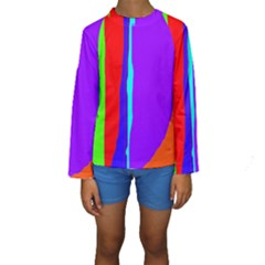 Colorful decorative lines Kid s Long Sleeve Swimwear by Valentinaart