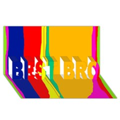 Colorful lines BEST BRO 3D Greeting Card (8x4)  by Valentinaart