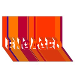 Orange Lines Engaged 3d Greeting Card (8x4)