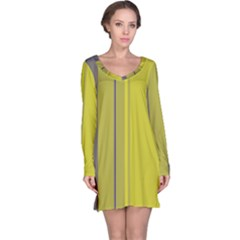 Green Elegant Lines Long Sleeve Nightdress