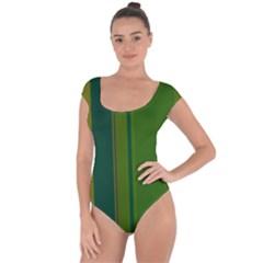 Green Elegant Lines Short Sleeve Leotard  by Valentinaart