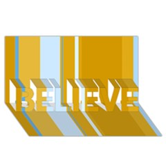 Yellow Elegant Lines Believe 3d Greeting Card (8x4)  by Valentinaart