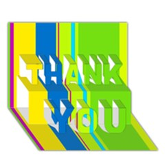 Colorful lines THANK YOU 3D Greeting Card (7x5)  by Valentinaart