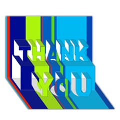 Blue And Green Lines Thank You 3d Greeting Card (7x5)  by Valentinaart