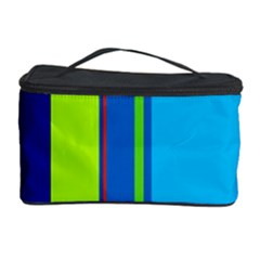 Blue And Green Lines Cosmetic Storage Case by Valentinaart