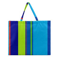 Blue and green lines Zipper Large Tote Bag by Valentinaart