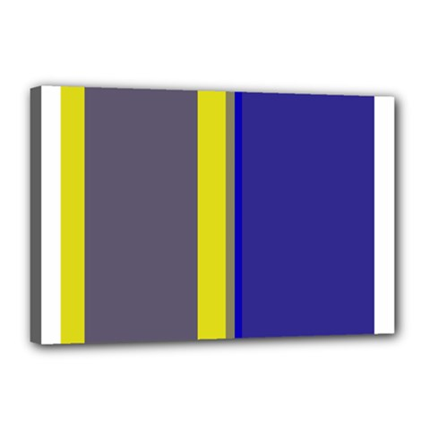 Blue And Yellow Lines Canvas 18  X 12  by Valentinaart