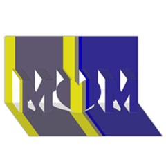 Blue And Yellow Lines Mom 3d Greeting Card (8x4)