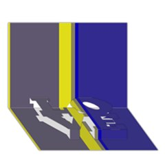 Blue And Yellow Lines Love Bottom 3d Greeting Card (7x5)
