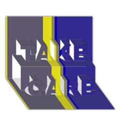 Blue And Yellow Lines Take Care 3d Greeting Card (7x5)