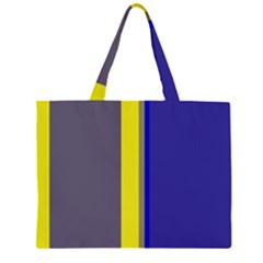 Blue and yellow lines Zipper Large Tote Bag by Valentinaart