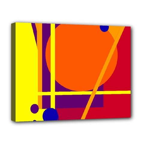 Orange Abstract Design Canvas 14  X 11  by Valentinaart