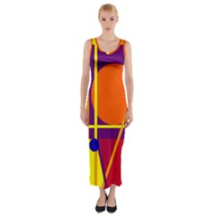 Orange Abstract Design Fitted Maxi Dress by Valentinaart