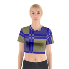 Blue Design Cotton Crop Top by Valentinaart