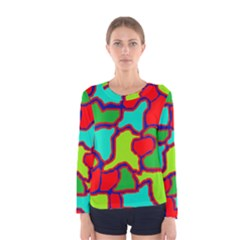 Colorful Abstract Design Women s Long Sleeve Tee by Valentinaart