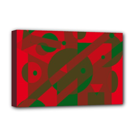 Red And Green Abstract Design Deluxe Canvas 18  X 12   by Valentinaart