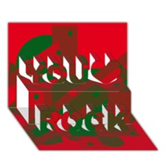 Red And Green Abstract Design You Rock 3d Greeting Card (7x5)  by Valentinaart
