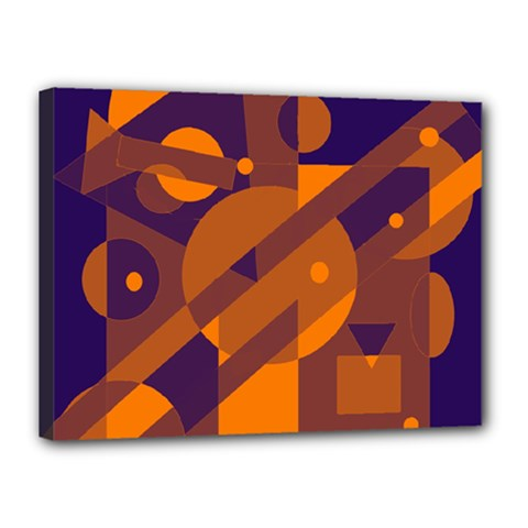 Blue And Orange Abstract Design Canvas 16  X 12  by Valentinaart