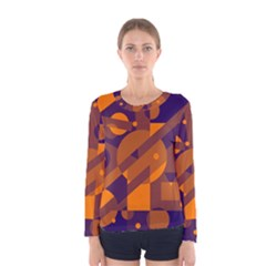 Blue And Orange Abstract Design Women s Long Sleeve Tee by Valentinaart