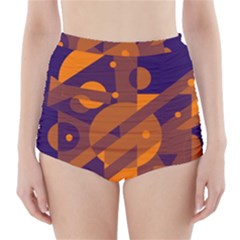 Blue And Orange Abstract Design High Waisted Bikini Bottoms