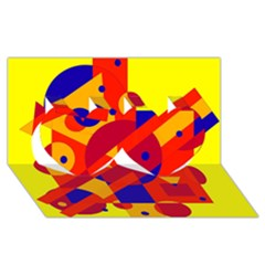 Colorful Abstraction Twin Hearts 3d Greeting Card (8x4)  by Valentinaart