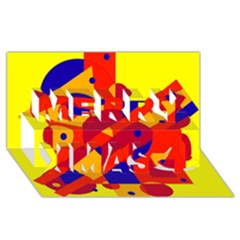 Colorful Abstraction Merry Xmas 3d Greeting Card (8x4)  by Valentinaart