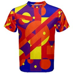 Blue and orange abstract design Men s Cotton Tee