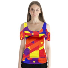 Blue And Orange Abstract Design Butterfly Sleeve Cutout Tee  by Valentinaart